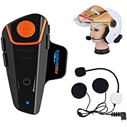 Fodsports BT-S2 Moto Intercom Oreillette 1000m Casque Bluetooth Intercom Moto Kit, Waterproof Interphone Connexion avec Téléphone, Mp3, GPS, Talkie Walkie, Radio FM (1 pcs Hard Cable)