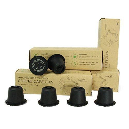 RECAPS BPA Free wiederverwendbare Nespresso Kapseln Nachfüllbare Pods Für Nespresso Original Line Machines 6 Pack (Schwarz)