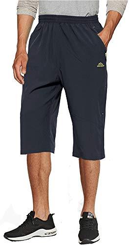 TACVASEN Herren Schnell Trocknend Atmungsaktiv Kurz Hose Outdoor Sports Cargo Capri Shorts mit Reißverschluss Taschen, 36, Dunkelgrau - Capri Running Shorts
