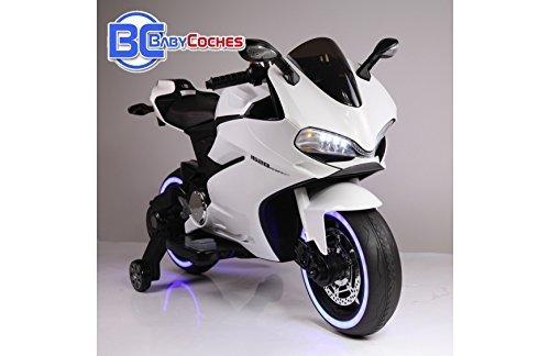 BC BABY COCHES BC Babycoches-Moto electrica 12 V para Niños Ducati Style Superbike, Ruedas Caucho, Asiento Polipiel, indicador bateria, ruedines,...