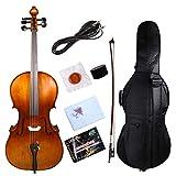 Yinfente Violoncelle électrique acoustique 5 cordes 4/4 en érable massif épicéa et ébène avec sac de rangement et archet