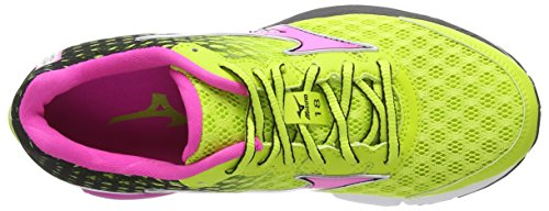 Mizuno Wave Rider 18 (w), Chaussures de Running Entrainement Femme Multicolore (Lime Punch/Electric)
