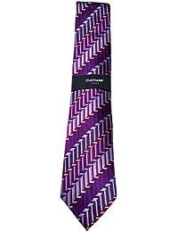 DUCHAMP London Men's 100% Woven Silk Neck Tie - Purple Weaved Pattern Design