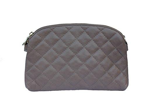 Schultertasche Umhängetasche Handtasche Damentasche Taupe Nappa Leder gesteppt -