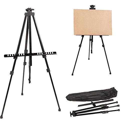 Techtest Easel for Canvas Paintings Board Drawing Easel Stand for Artists Canvas Stand Tripod Outdoor Drawing Art Table Top Adjustable Painting Metal Stand Portable Lightweight Display Carry Bag