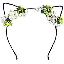 Hosaire Bandeau d'Oreille de Chat Serre-Tête Fleurs de simulation manuelle accessoires cheveux pour Fête et Décoration cheveux Bijoux Cadeau d'amour -Vert