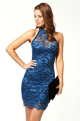Damen Spitzenkleid Cheongsam China Qipao Etuikleid Abendkleid Partykleid Stickerei Neckholder (Nr L/ EU 38, Blau) Kleid Für Reife Frauen