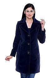 Trufit Solid Womens Navy Blue Long Single Breasted Blazer Lapel Velvet Coat