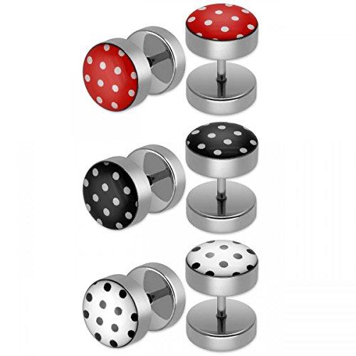 SoulCats® 3er Set Polka Dots Ohrstecker/Fake Plugs aus Edelstahl in weiß schwarz und rot Polka Set