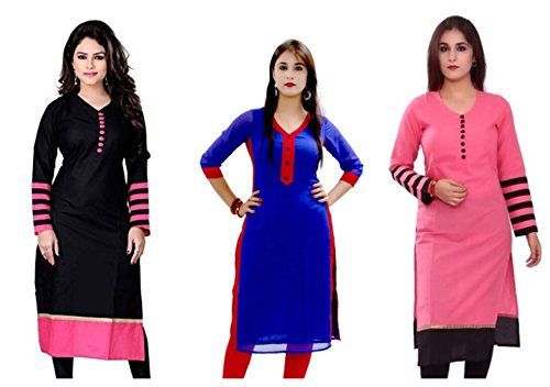 Kesari King Party Wear Semi Stitched Kurti For Women (Combo of 3)