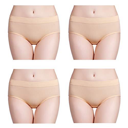 wirarpa Bragas de Algodon Mujer Pack de 4 Braguitas Culottes Cómodo Pantalones Beige S