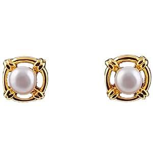 Mangatrai Gold rim single pearl stud earrings for women