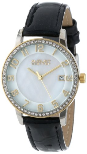 August Steiner Women's AS8056YG Swiss Quartz Mother-Of-Pearl Crystal Leather Strap Watch