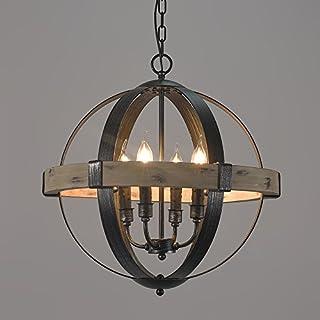 Jiuzhuo Vintage Style Rustic Artcraft Wooden Globe Shaped Pendant Chandelier Lighting Hanging Ceiling Fixture (4-Light)