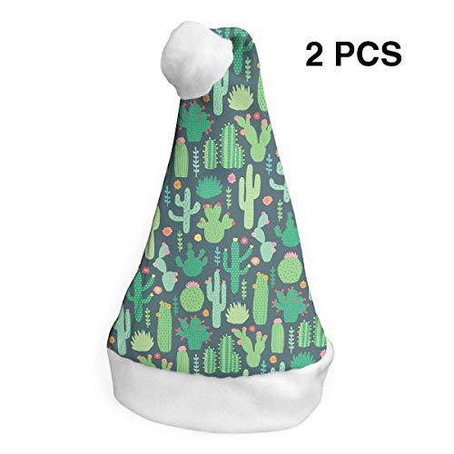 Weihnachtsmannmütze, Kaktus, Frohe Weihnachten, für Erwachsene und Kinder, Kostüm, Weihnachtsdekoration, Party-Zubehör (2 ()