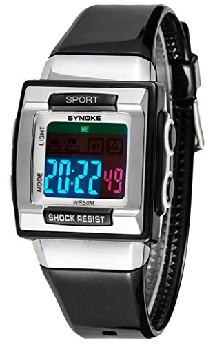Kinderuhren Elektronische Uhren Wasserdichte Uhren-Schwarz