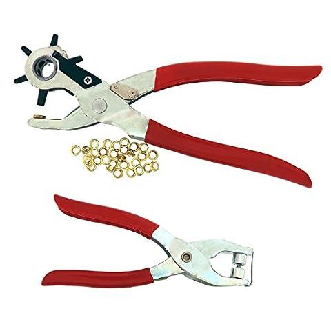 5-Loch Lochzange & Ösenzange Set 20 Ösen von Kurtzy - Metallösen Druckknopf Stud Ring Schneider Zange Werkzeug – ideales Werkzeug für Leder, Stoff, Gürtel, Kleidung, dekorative Reparatur