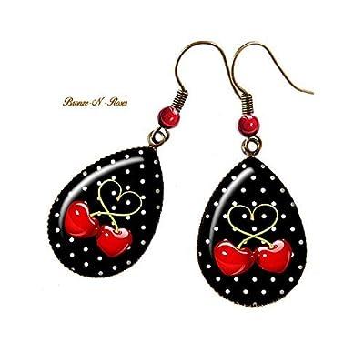 Boucles d'oreilles gouttes cerises rouges noir bronze pois bronze-n-roses