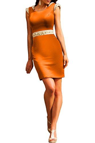Gorgeous Bride Modisch Rundkragen Knielang Etui Satin 2017 Damen Partykleider Tanzkleider Abendkleider Kurz Cocktailkleider Ballkleider Orange