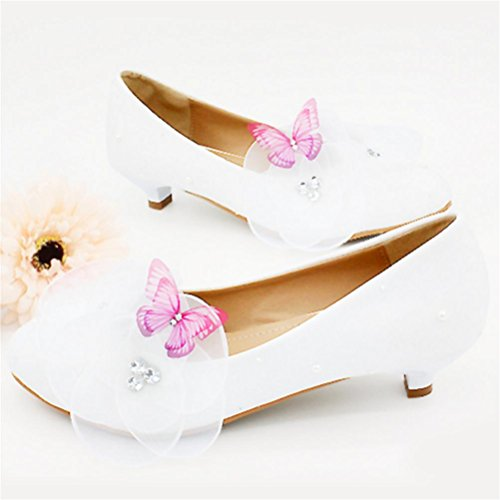 QPYC Ladies Lace Butterfly Crystal Bride Scarpe da sposa Scarpe da sposa Scarpe basse con scarpe piatte white 3cm