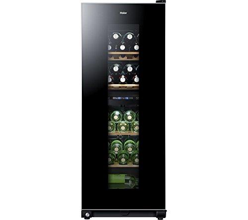 Haier WS46GDBE Weinkühlschrank / 2 separate Kühlkreisläufe / 127 cm Höhe / LED Display / UV-undurchlässige Glasscheibe / Anti-Vibrationskompressor / 5 Edelholzablagen / schwarz