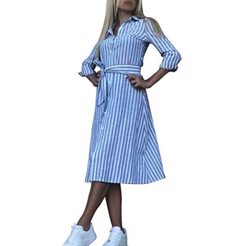 KEYIA Damenmode Revers Volltonfarbe gestreiften Knopf mit Gürtel Hemdkleid