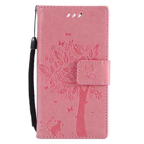 Chreey Huawei Mate 10 Pro Hülle, Prägung [Katze Baum] Muster PU Leder Hülle Flip Case Wallet Cover mit Kartenschlitz Handyhülle Etui Schutztasche [Rosa]