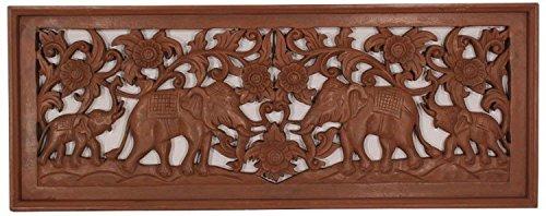 Asiatika-Online.de WANDRELIEF Holz Relief WANDBILD Elefant Antik Style China MÖBEL Asien 99X38CM HB