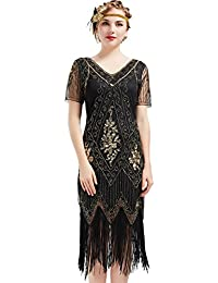 ArtiDeco 1920s Flapper Fringed Sequin Dress Roaring 20s Fancy Dress Gatsby Costume Dress V Neck Vintage Beaded Evening Dress