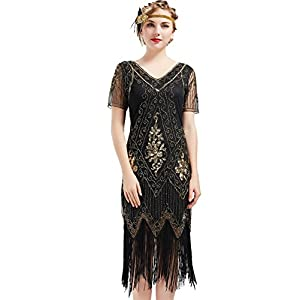 ArtiDeco 1920s Kleid Damen Flapper Kleid mit Kurzem Ärmel Gatsby Motto Party Damen Kostüm Kleid (Schwarz Gold, M)