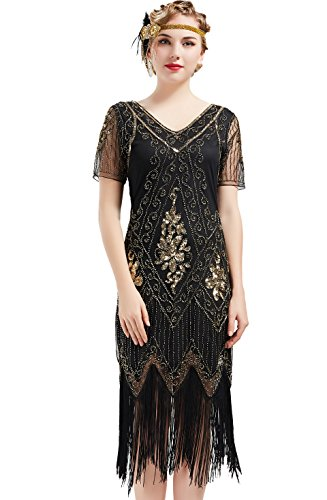 Kostüm Halloween Flapper - ArtiDeco 1920s Kleid Damen Flapper Kleid mit Kurzem Ärmel Gatsby Motto Party Damen Kostüm Kleid (Schwarz Gold, M)