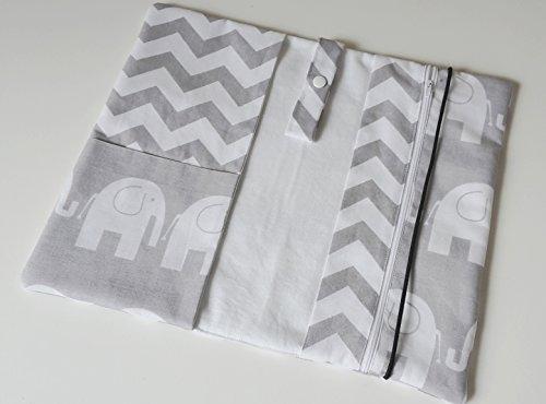 WindelTasche Wickeltasche Elefanten Chevron Zickzack weiß grau Baby