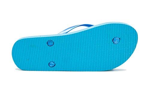 Airee Fairee Zehentrenner Damen Flip Flops Mädchen Sommer Sandalen Palme-Muster Blau