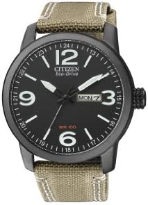 Citizen BM8476-23E - Reloj analógico de cuarzo para hombre, correa de nailon color beige