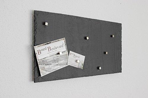 Schiefer Magnettafel (Echt Massiver Stein) ! 50 cm x 30 cm - Pinnwand + Kreidetafel inkl. 5 Magnete - 500 Millionen Jahre alten Spanischem Bergbauvorkommen.