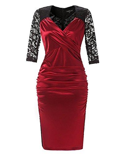 Damen V-Ausschnitt Elegant Brautjungfer Cocktailkleid Partykleid Etuikleid  mit Spitze Festliches Kleid A Linie Kurzarm ...