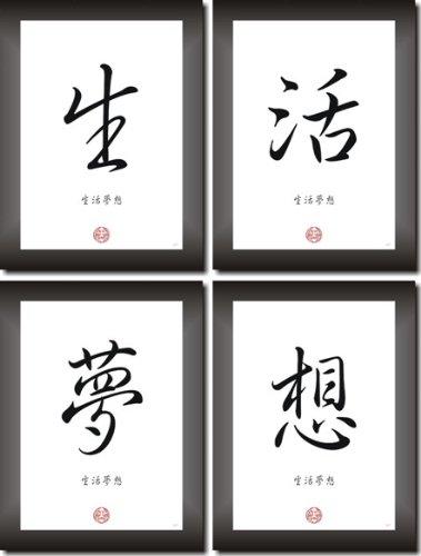 LEBE DEINEN TRAUM - China - Japan Kanji Kalligrafie Schrift Zeichen Bilderset Asiatsche Dekoration