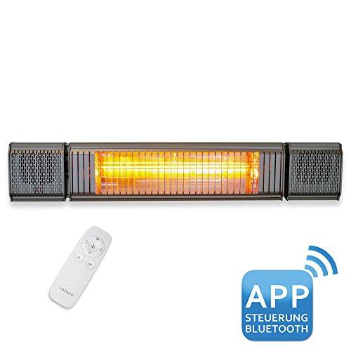 VASNER Appino BEATZZ Grau Grey Infrarotstrahler dimmbar 2000 Watt mit Bluetooth, LED Backlight Licht, Musik-Lautsprecher Außenbereich