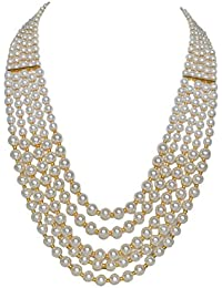 [Sponsored]Sansar India Multistrand White Beads Traditional Necklace For Girls And Women