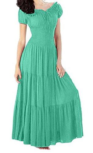 CRAVOG Damen elegant Sommerkleid lang Maxikleid kleid Partykleid Cocktailkleid Hellgrün