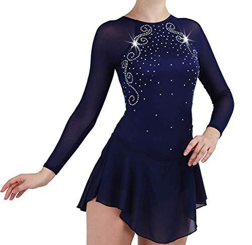 Eiskunstlauf Kleid Für Frauen Und Mädchen, Handarbeit Eislaufen Wettbewerb Professionel Performance Rollschuhkleid Kostüm Langärmelige (Eiskunstlauf Kostüme Über Die Jahre)