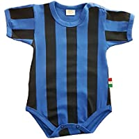 Zigozago - Body Spielanzug Baby mit schwarzen und blauen Streifen - 100% Baumwolle
