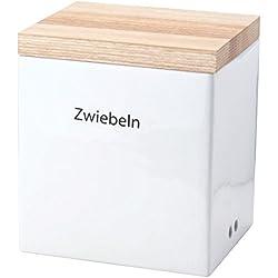 Continenta 1001266224 Zwiebel Vorratsdose aus Keramik mit Holzdeckel, 18 x 15,5 x 20,5 cm, Braun