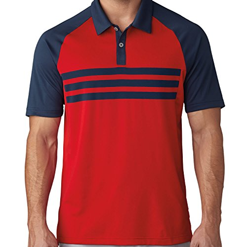 Adidas Golf 2017 Climacool® 3-Stripes Competition Polo Mens Performance Golf Polo Shirt Dark Slate/Scarlet Medium (Climacool Polo Golf)