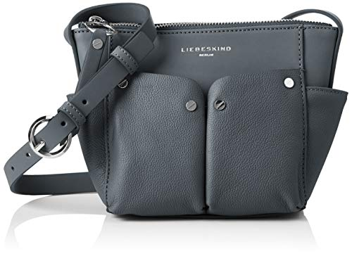 Leder-nieten-handtasche (Liebeskind Berlin Damen Duo Crossbody Small Umhängetasche, Blau (Urban Blue), 7x25x16 cm)