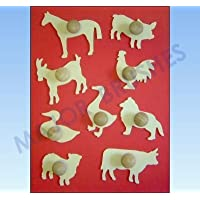 Major Brush - Set di stencil con disegni di animali in legno, 9 pezzi, maiale, mucca, pecora, oca