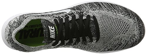 Nike Damen Free Run Flyknit 2017 Laufschuhe Schwarz (Black/White-Volt)