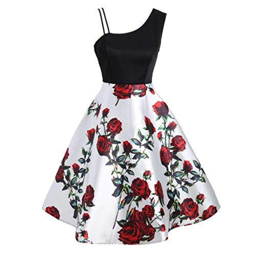 Zegeey Damen Rockabilly Partykleider äRmellose Schulterfrei Plaid Drucken UnregelmäßIgen Kleid Cosplay Ballkleid(A2-rot,EU-46/CN-4XL)