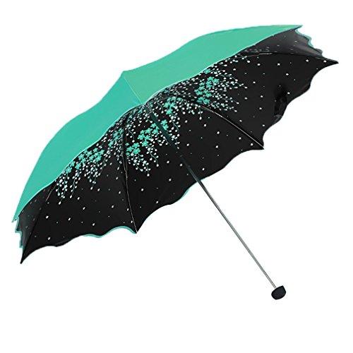 GuokeUv-Beständig Schwarz Gummi Sonnenschirme Mädchen Kreative Drei Falten Regenschirm Mit Einem Feinen Zwei Produkte, Die Blumen - Blau