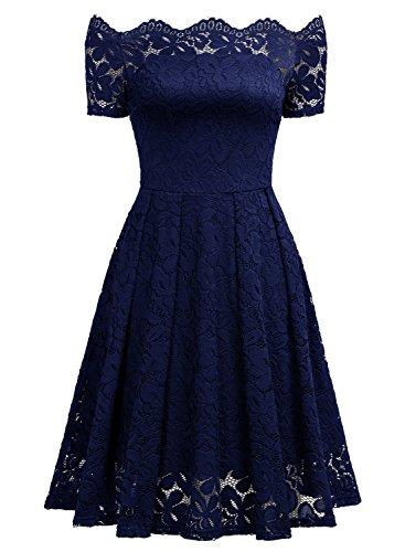 MIUSOL Robe de Soirée Bustier Dentelle Cocktail Manches Longues Femme,Fleurs Robe de Fete Col Rond Vintage Dos nu Femme Sexy Bleu.2